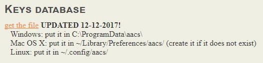 VLCブルーレイ再生キーデータベース