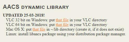 VLCで市販BD再生用のAACS復号ライブラリ
