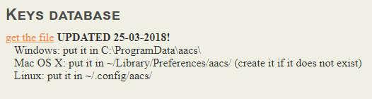 VLC市販BD再生用のキーデータベース