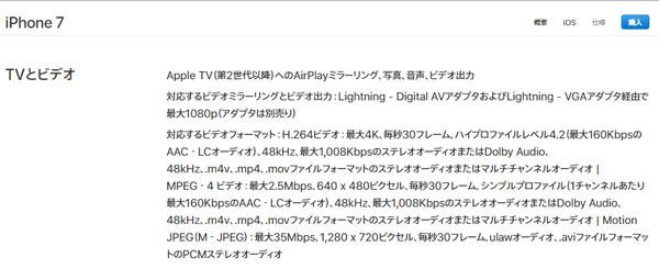 iPhoneで再生可能のMP4動画のスペック