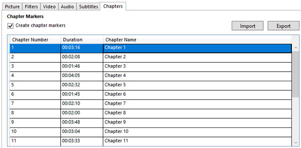 Handbrake Chapter tab